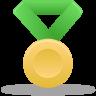 Metal-gold-green icon
