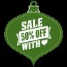 Sale-50-percent-off-heart-green icon